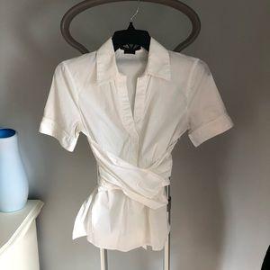 ❤️5/25$! BCBG - white wrap style shirt